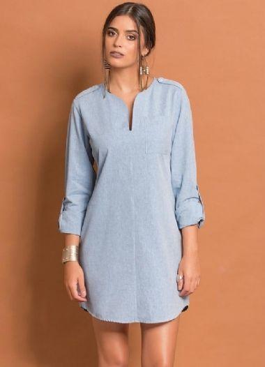 Vestido Chemise Curto Azul Claro em Tricoline com efeito de Jeans Moda Feminina Outono Inverno 2017