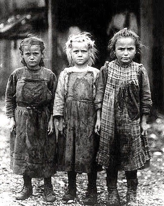 Alice (far left) worked in a factory at age seven to help support her family of nine Not that long ago. .