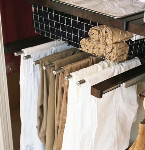 ElfaR Decor Gliding Pant Rack Available In White Birch Walnut