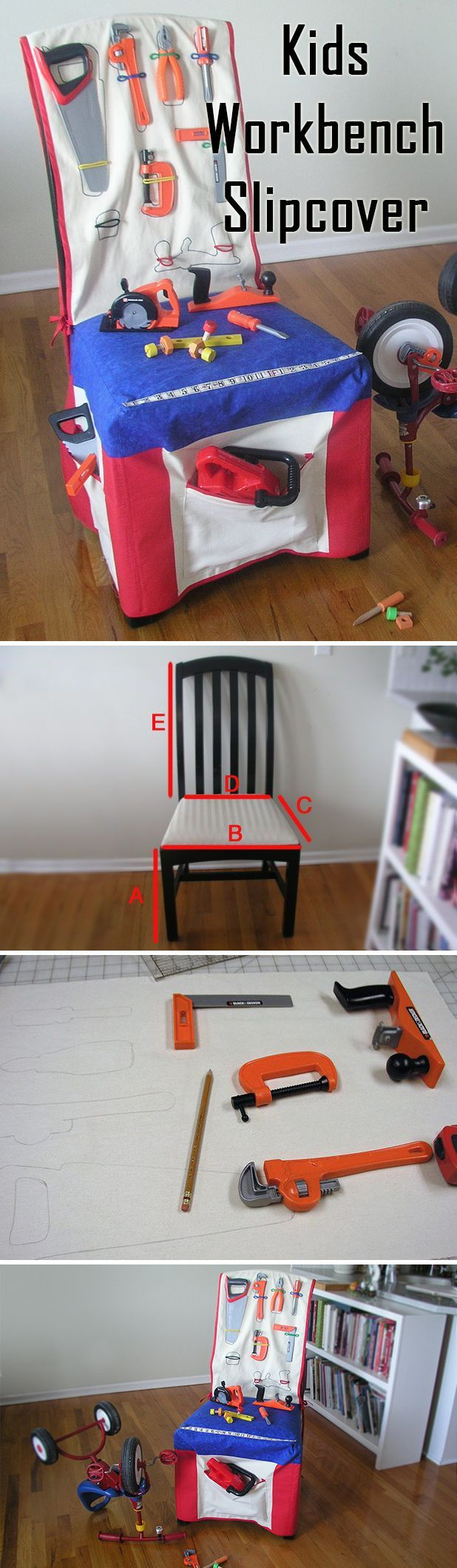 Super crafty idea! Make a completely stocked kids workbench slipcover for any chair. The kids will have such fun with this! www.ehow.com/...