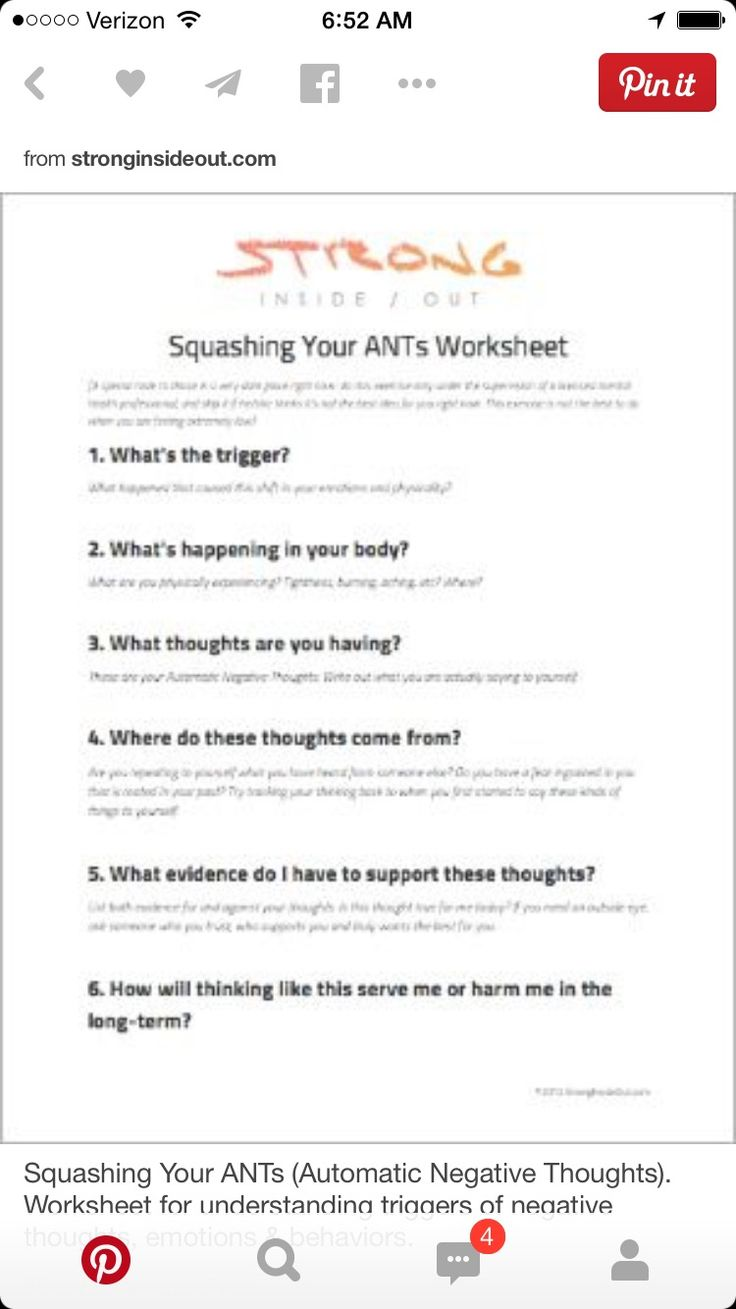 automatic negative thoughts worksheet pdf