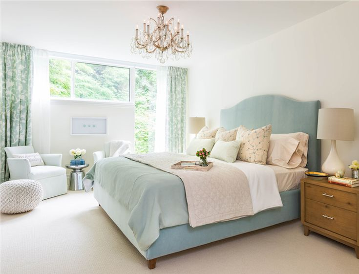Duck Egg Blue Bed, Transitional, bedroom, Rebecca Hay Interior Design
