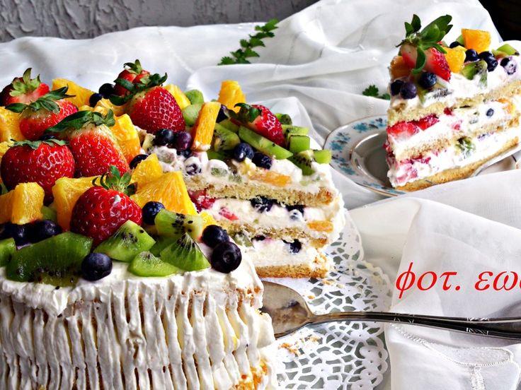 Kolorowy tort owocowy