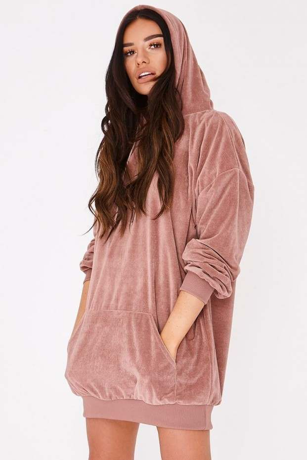 sarah ashcroft dusty rose teddy fleece oversized hoodie dress | In The Style