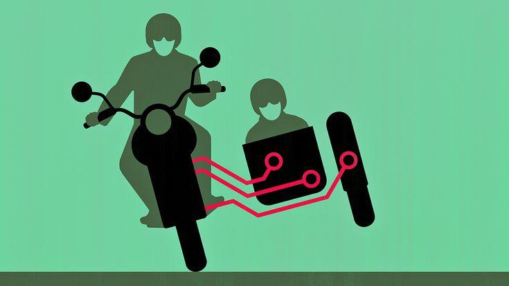 © Joey Guidone - Side Hustle Series. Illustration, Conceptual, Editorial, Digital, Vector Art, Sharing Computer Power, Sidecar, Motorbike, Circuit, Electronics