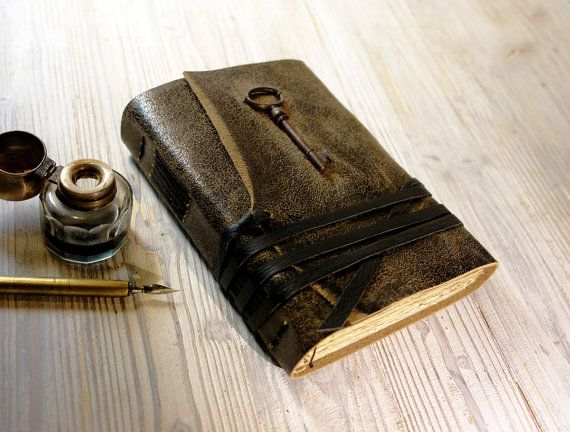 Unspoken - Leather Journal with Antique Skeleton Key and Vintage Style Pages on Etsy, $58.00