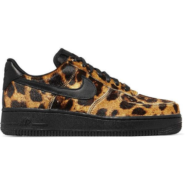 Nike Air Force 1 calf hair and leather sneakers (1.353.260 IDR) ❤ liked on Polyvore featuring shoes, sneakers, nike, leopard print shoes, black leather trainers, lace up shoes and nike trainers