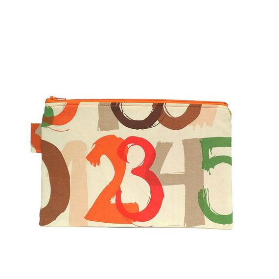 Pencil Case Zipper Pouch // Stationery Pen Case // Large Zipper Pouch - Numbers