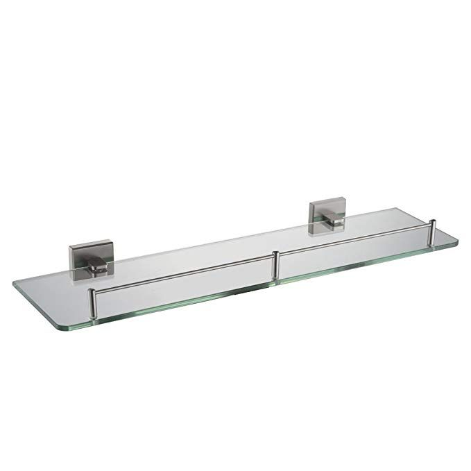 Bathroom Glass Shelf With Rail 19 7 Angle Simple Sus304