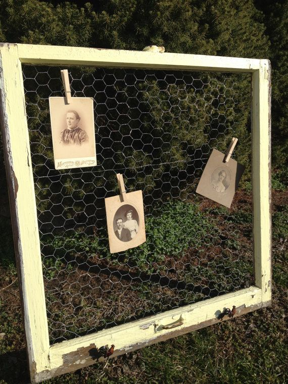 Old Window - Chicken Wire Message Board - Rooster Knobs - Yellow Chippy Paint - Farmhouse chic