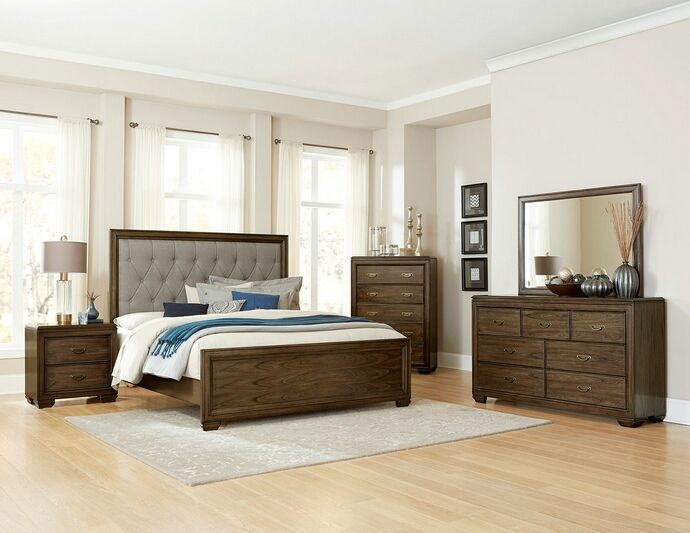 "5 pc Leavitt collection brown cherry finish wood tufted headboard queen bedroom set. This set includes the Bed, Nightstand, Dresser, Mirror and Chest. Bed measures 63"" H HB 24"" H FB. Nightstand measures 28"" x 17.5"" x 28"" H. Dresser measures 66"" x 17.5"" x 38.5"" H. Mirror measures 50"" x 1.5"" x 36"" H. Chest measures 38"" x 17.5"" x 54.25"" H. Also available in Cal king and Eastern King. Some assembly required."