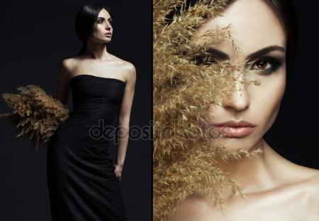 Скачать - Портрет красивой стильной девушки с идеальный макияж и кожи, позирует на черном фоне. Художественный портрет с тростником и студийного освещения. Понятие маленькое черное платье — стоковое изображение #106090346