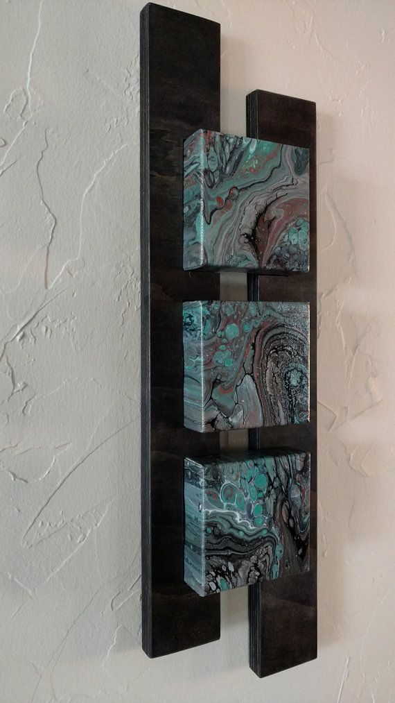 NEW – Abstract Acrylic Wall Art Ein von einer Art! Acryl Gießen Malerei auf 4 x 4 x 1 Leinwand Blöcke. Die Blöcke sind Einschub 1/4 in bunt 3/4 Sperrholz 2 Stück custom Rahmen. Maße: 22 x 6 1/2 x 1 7/8 Leinwand ist mit Glanzlack – Holz mit Matt beendet. Farben im Rampenlicht, Türkis, schwarz und grau mit Spritzern von