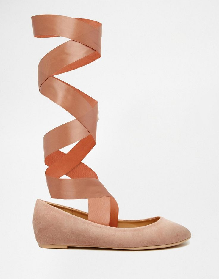 Shop Glamorous Nude Suedette Ribbon Tie Ballet Shoes at ASOS.