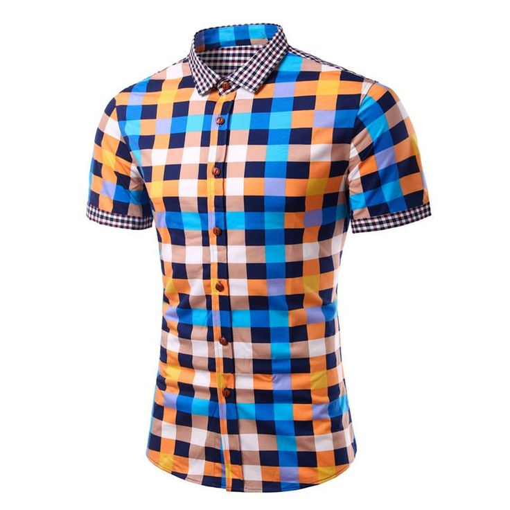 Colorful plaid men's short-sleeve shirt contrasting collar, you need one of these in your wardrobe