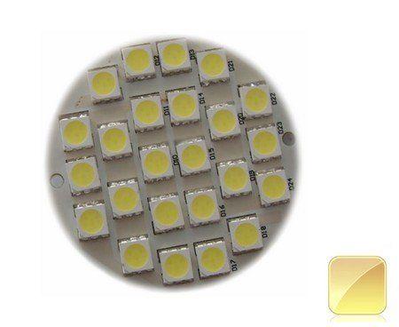 Mini carte à led ronde 50mm 24 LED SMD 5050 blanc chaud 12v DC