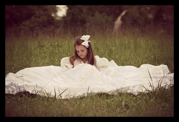 Beautiful image of a daughter in her Mothers wedding dress...awesome background