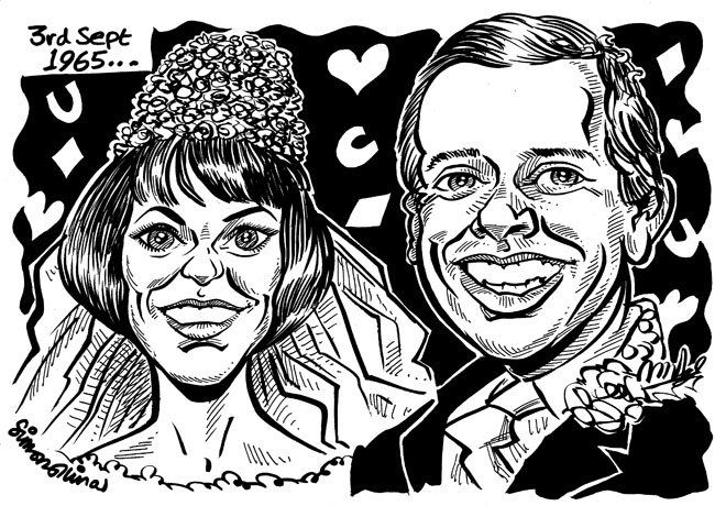 AN INTERESTING recent caricatures from photos gift was commissioned to celebrate a couple's fiftieth wedding anniversary. Asked to faithfully reproduce, in ink, two photos of the couple from bot 1965 and 2015, I was aware that this was not the standard caricature job but more of an ink illustration.