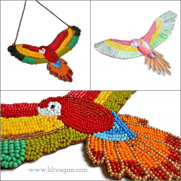 Colorful bead embroidery parrot statement necklace, tropic style, unic pattern