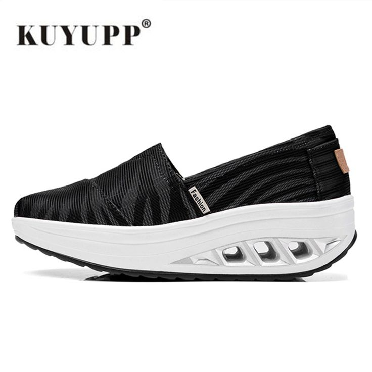 KUYUPP Canvas Women Casual Shoes Fashion 4.5cm Wedge Shoes zapatillas deportivas mujer Breathable Women Mary Shoes Black S270