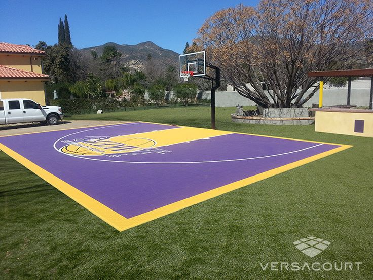 Backyard Basketball Court In LA Lakers Colors