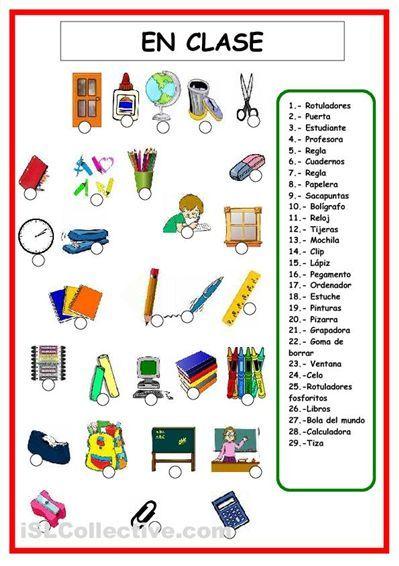VOCABULARIO objetos de clase ESPAÑOL - Pesquisa do Google: