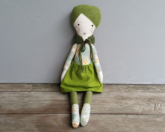 I just love cloth dolls, this one is totally gorgeous.  Green Cloth Doll with Wool Felt Hair  by StardustRaspberries