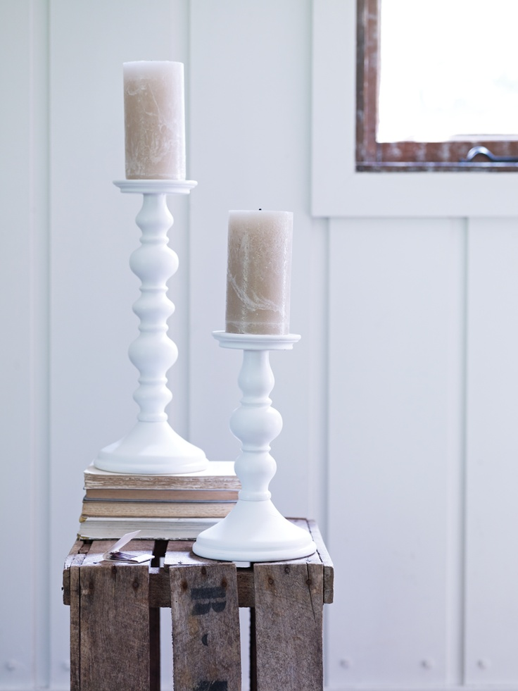 Two Light Gesso Candlesticks