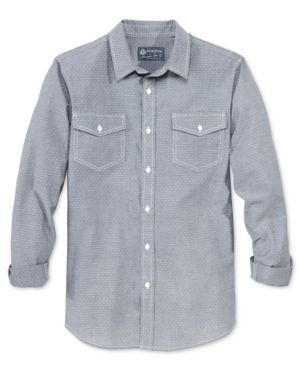 American Rag Men's Pick-Stitch Long-Sleeve Shirt, Only at Macy's  - Gray S