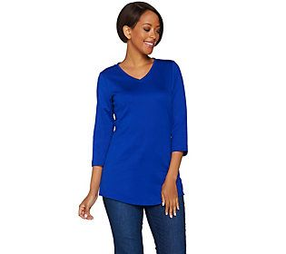 C. Wonder Essentials Pima Cotton 3/4 Sleeve V-neck Tunic