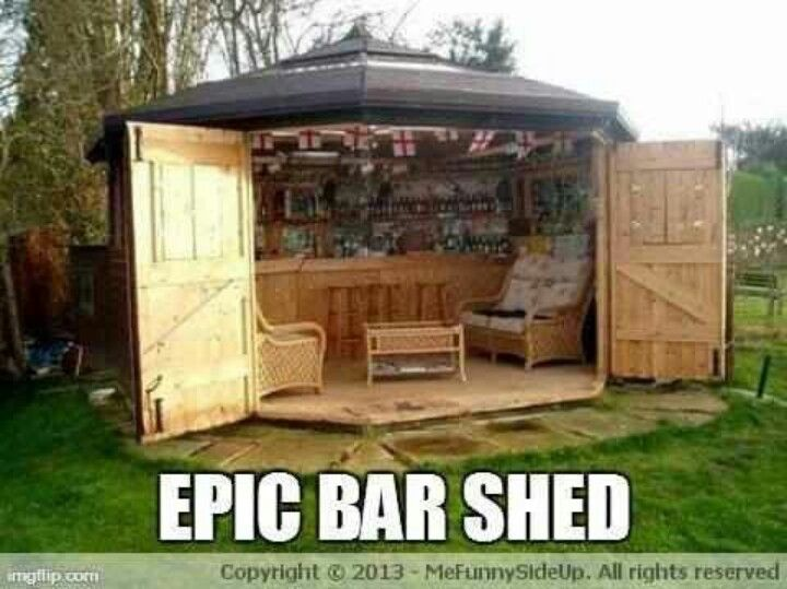 Build Backyard Man Cave : Epic bar shed  Ideas DIY  Pinterest  Bar Shed, Sheds and New Trends