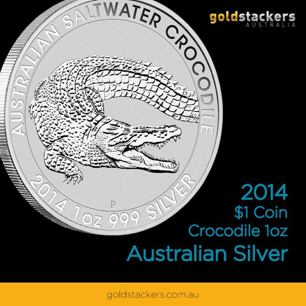 PERTH MINT 2014 AUSTRALIAN SALTWATER CROCODILE 1OZ SILVER COIN -  http://www.goldstackers.com.au/store/perth-mint-1oz-silver-crocodile-2014.html  #silver price per gram #silver prices #crocodile