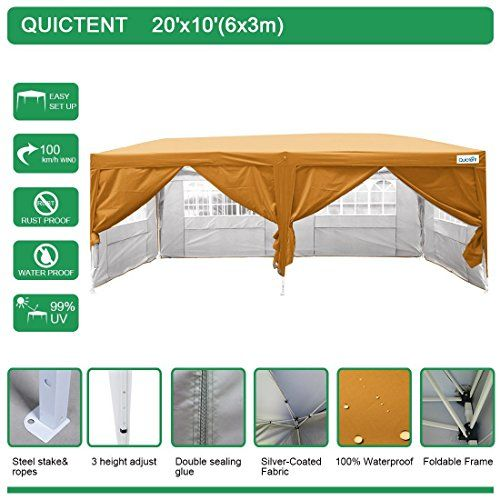 Best Camping Tents | Quictent Waterproof 20x10 EZ Pop Up Canopy Gazebo Party Tent Carport Folding Frame Ez Set Up Style Sides Removable With Roller Bag OrangeQuictent Waterproof 20x10 EZ Pop Up Canopy Gazebo Party Tent Carport Folding Frame Ez Set Up Styl