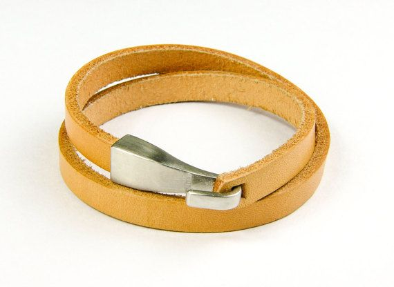 Double Wrap Genuine Leather Bracelet with Matt by AltGoodDesign