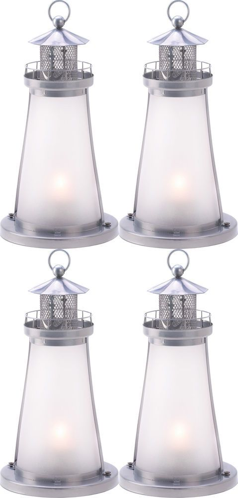 4 Frosted Lighthouse Lantern Candleholder Table Decor Wedding Centerpieces