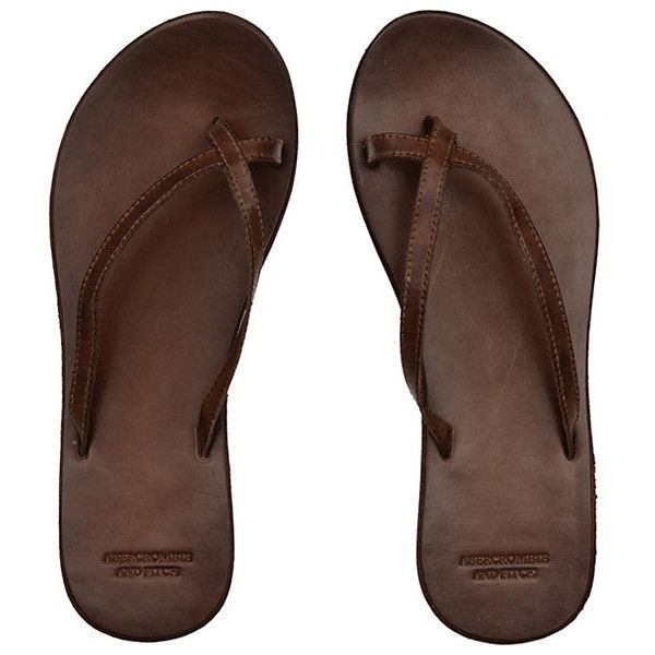 Abercrombie & Fitch > Women > Flip Flops > Cross-Over Leather Flip... ❤ liked on Polyvore featuring shoes, sandals, flip flops, scarpe, brown, leather shoes, brown leather shoes, brown shoes, leather sandals and brown leather sandals