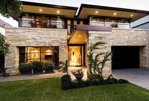 Modern Exterior of Home with Eldorado Stone Cut Coarse Stone