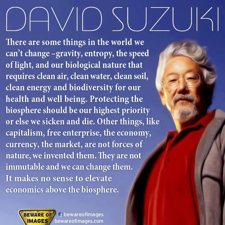 """It makes no sense to elevate economics above the biosphere.""  ~David Suzuki"