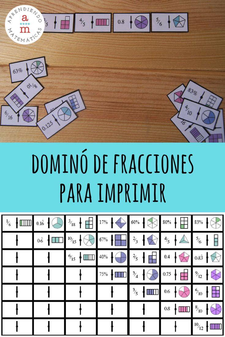 [IMPRIMIBLE gratuito] Dominó de fracciones para aprender jugando.