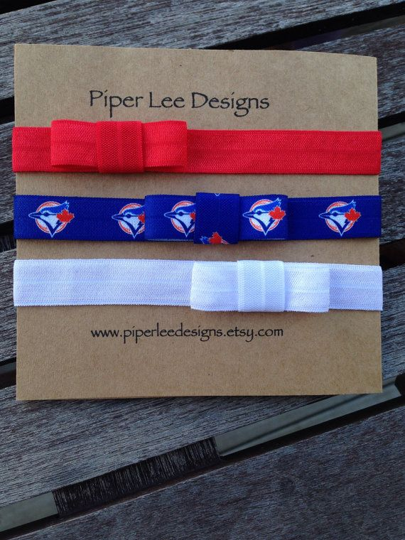 Toronto blue jays headband set headband elastic by PiperLeeDesigns
