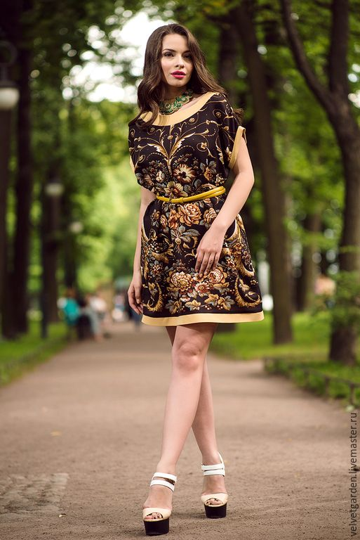 Купить Платье из хлопка Южная ночь - коричневый, цветочный, платье на каждый день, платье на выход