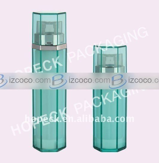Hexagon shape acrylic dual chamber lotion bottle, 2x20ml, 2x30ml