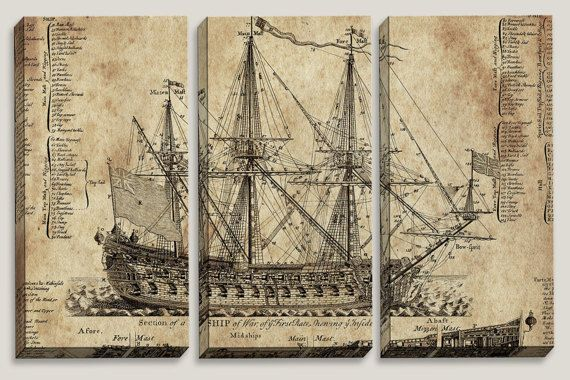 "Sale Coupon Code: LOVEART ""Old Dark Moon"" Old Ship Blueprint, Canvas Art, Nautical, Office Decor, Man Cave, Boys Room Decor by Joelle Joy"