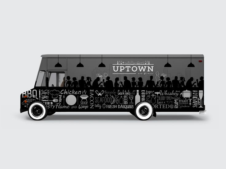 Uptown Bar And Grill Van Truck Vehicle Wrap by Bradley Lancaster  #alcohol #bar #branding #dining #drinks #food #grill #meat #restaurant #signage #stickers #wrap #bradleylancaster