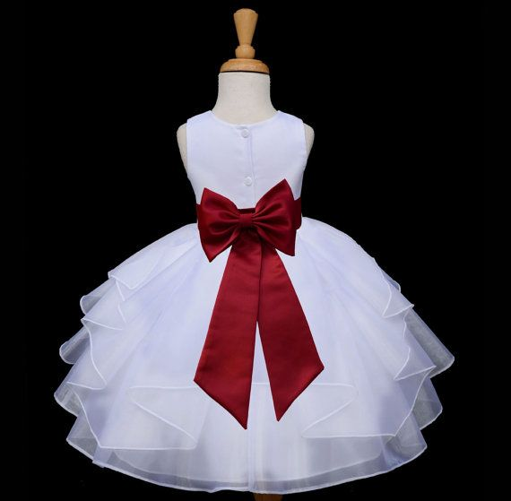 WHITE/ apple red (picture)/ Organza flower girl dress more than 20 sash and flower colors bridemaid pageant wedding elegant girl 4613T