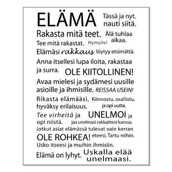 Elämä - Juliste - http://sisustusullakko.com/tuote/elama-juliste-2