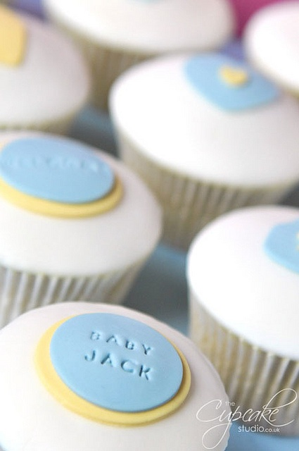 the cupcake studio - baby shower - baby boy cupcakes @Beth Johnson-Davis. The Name idea is pretty cool
