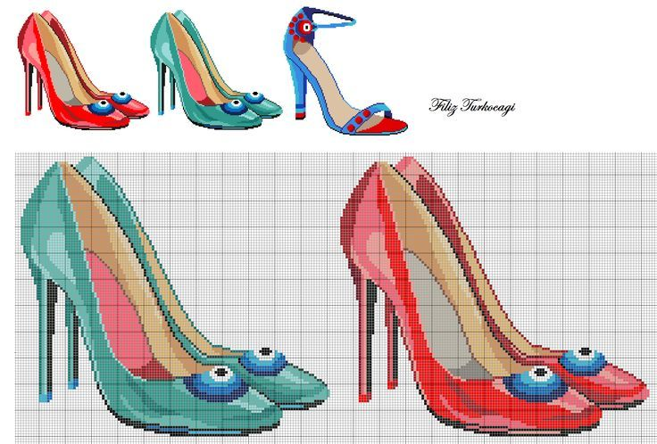 0 point de croix chaussures à talons vert et rouge - cross stitch green and red high heels shoes