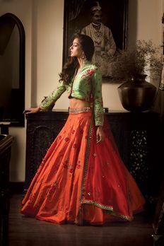 Pure raw silk flared lehenga and blouse with net dupatta embellished with resham, sequence and zardosi work from #Benzer #Benzerworld #ghagracholi #womenswear #lehenga
