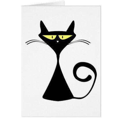 Black Cat Cartoon Silhouette Card - cat cats kitten kitty pet love pussy
